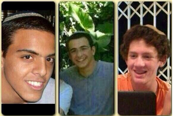 """Eyal Yifrah, Gil-Ad Shaer and Naftali Frenkel kidnaped by Hamas or other """"Palestinian"""" terrorists. May we rescue them swiftly."""