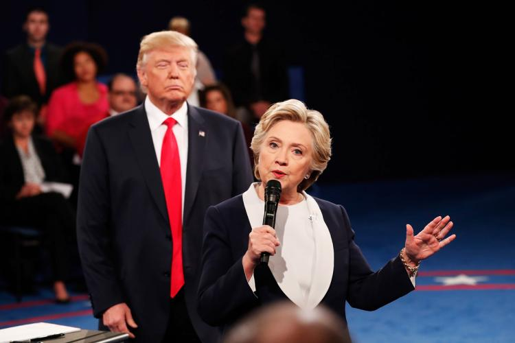 """All time low for leftist media, accusing Donald Trump of """"stalking"""" Hillary during the second 2016 debate."""